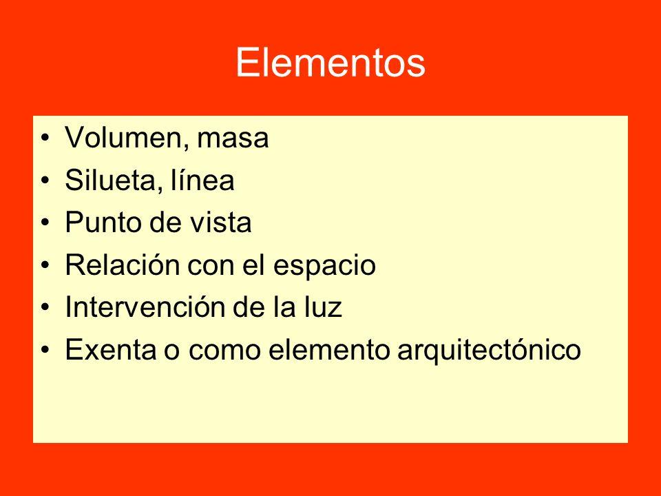 Elementos Volumen, masa Silueta, línea Punto de vista