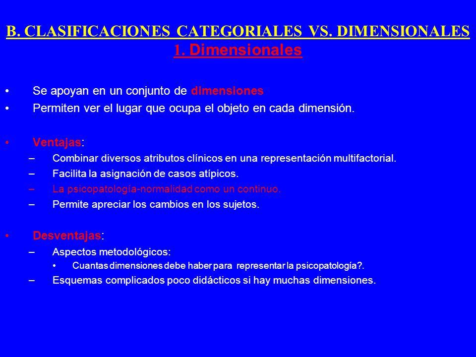B. CLASIFICACIONES CATEGORIALES VS. DIMENSIONALES 1. Dimensionales