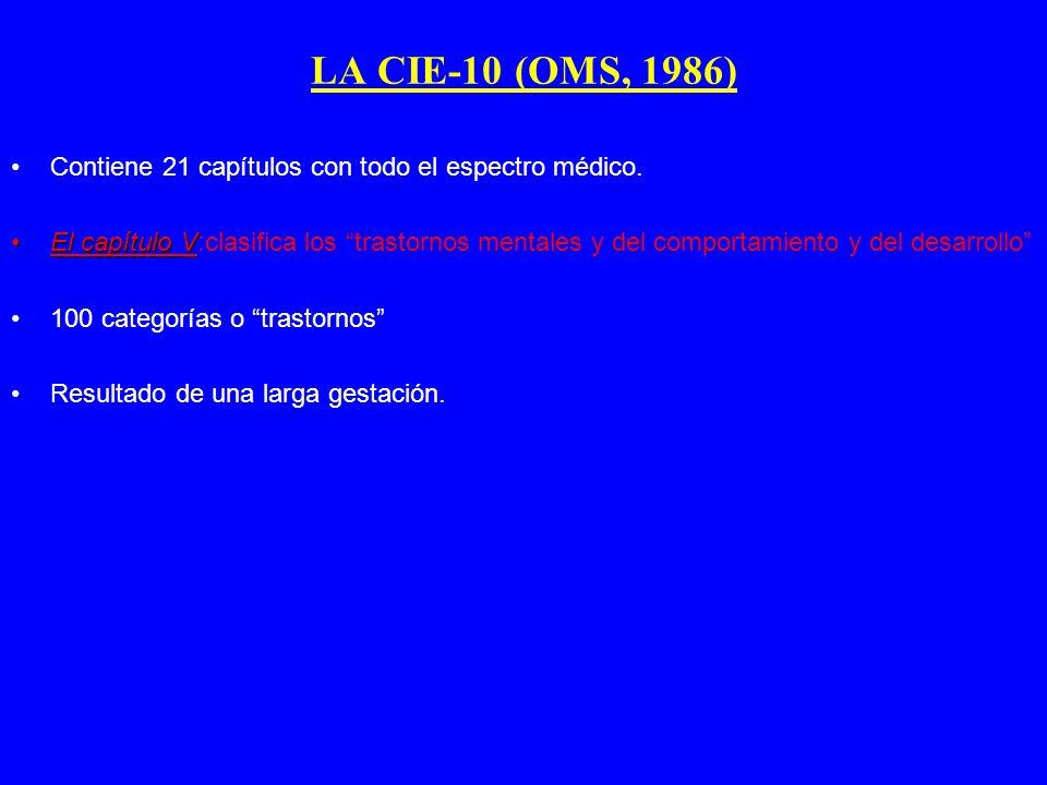 LA CIE-10 (OMS, 1986) Contiene 21 capítulos con todo el espectro médico.