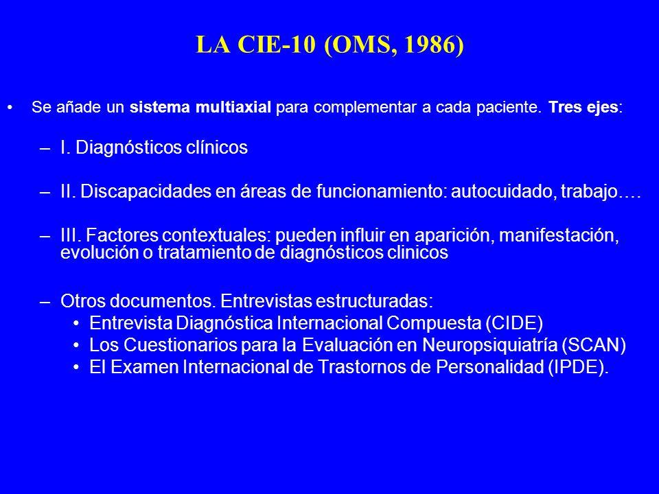 LA CIE-10 (OMS, 1986) I. Diagnósticos clínicos