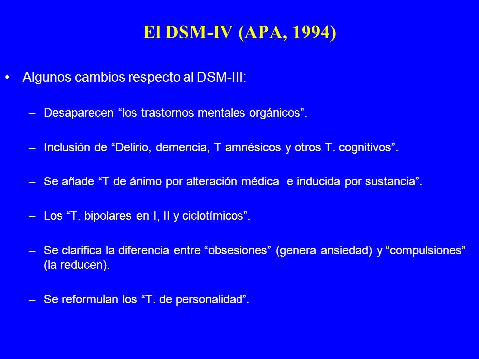 El DSM-IV (APA, 1994) Algunos cambios respecto al DSM-III: