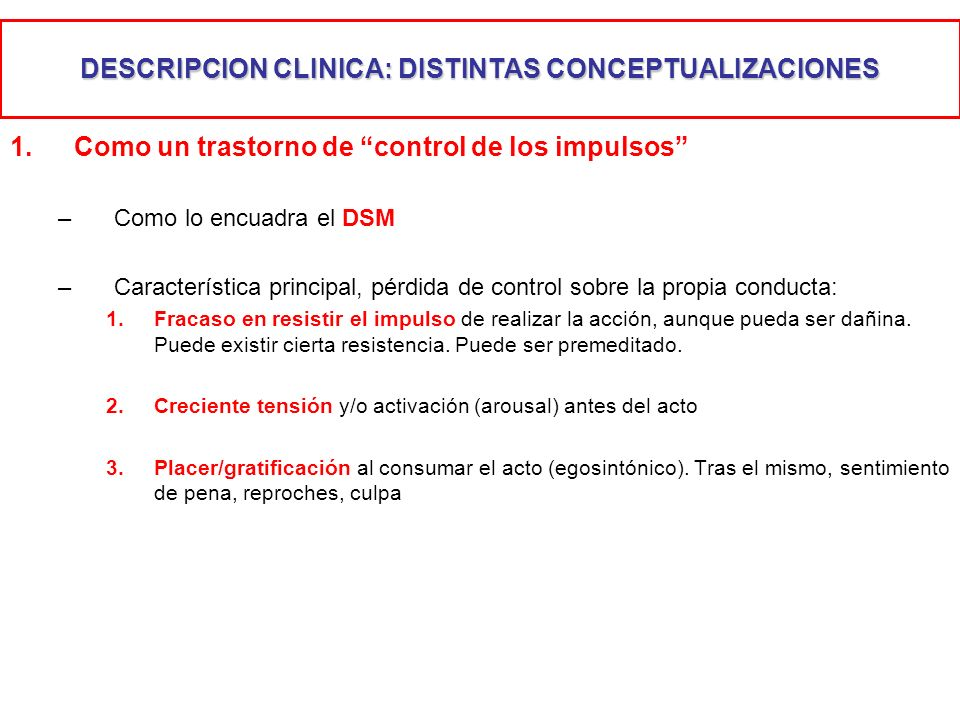 DESCRIPCION CLINICA: DISTINTAS CONCEPTUALIZACIONES
