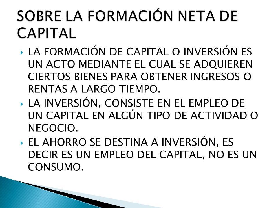 SOBRE LA FORMACIÓN NETA DE CAPITAL
