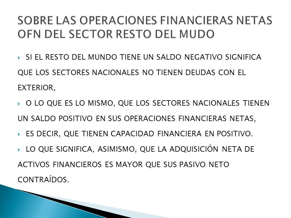 SOBRE LAS OPERACIONES FINANCIERAS NETAS OFN DEL SECTOR RESTO DEL MUDO