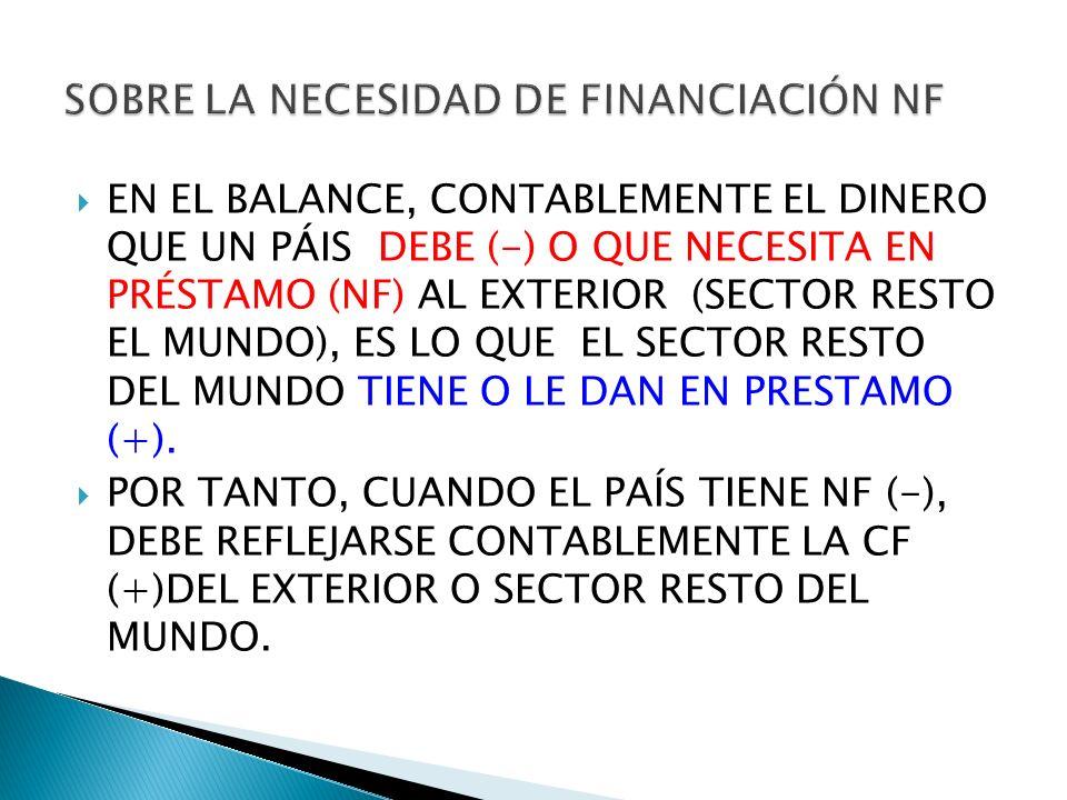 SOBRE LA NECESIDAD DE FINANCIACIÓN NF