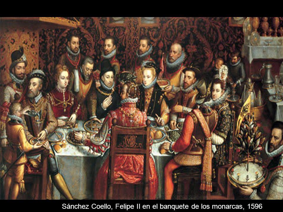 Sánchez Coello, Felipe II en el banquete de los monarcas, 1596