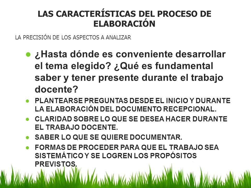 LAS CARACTERÍSTICAS DEL PROCESO DE ELABORACIÓN
