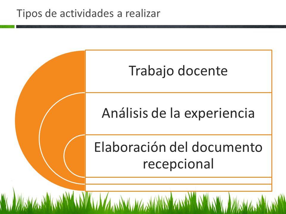 Tipos de actividades a realizar