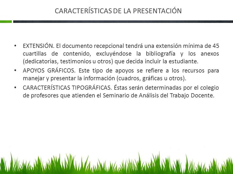 CARACTERÍSTICAS DE LA PRESENTACIÓN