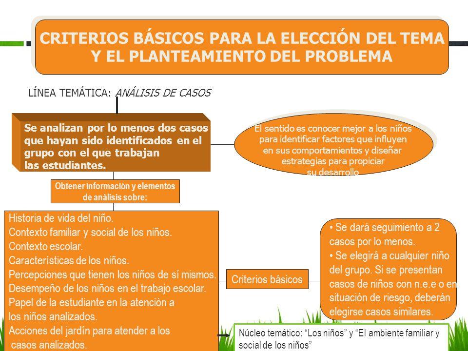 CRITERIOS BÁSICOS PARA LA ELECCIÓN DEL TEMA