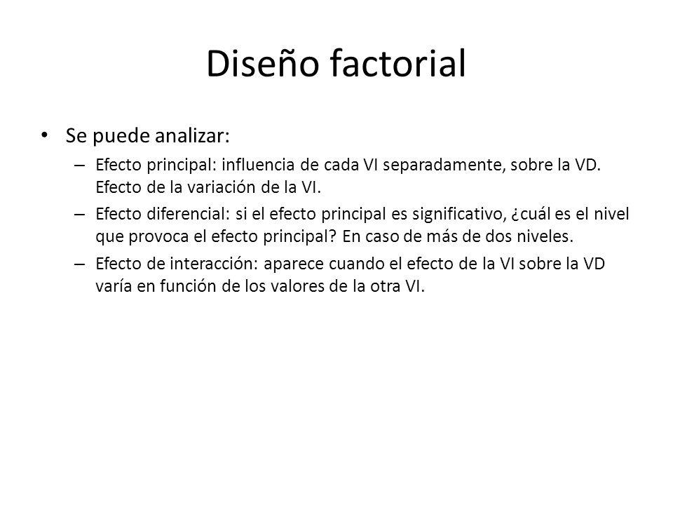 Diseño factorial Se puede analizar: