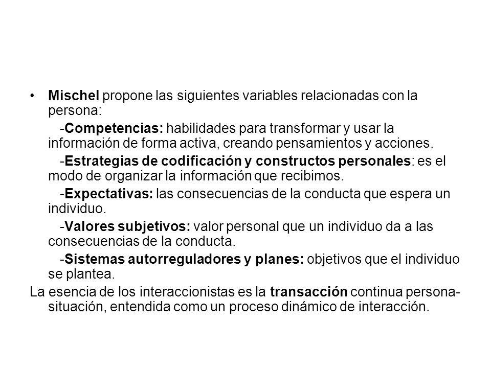 Mischel propone las siguientes variables relacionadas con la persona:
