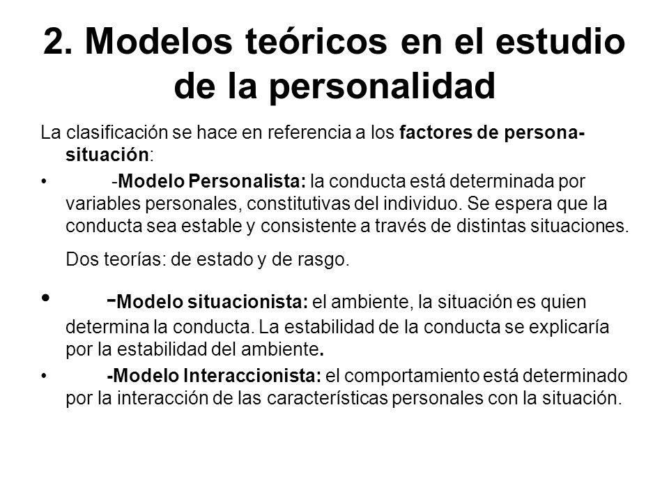 2. Modelos teóricos en el estudio de la personalidad