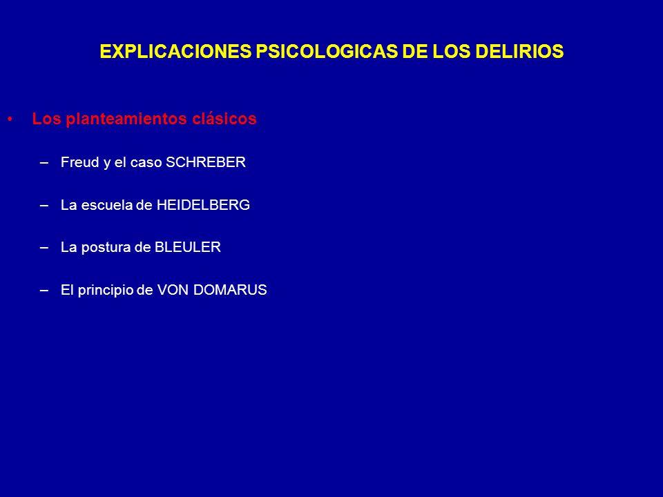 EXPLICACIONES PSICOLOGICAS DE LOS DELIRIOS
