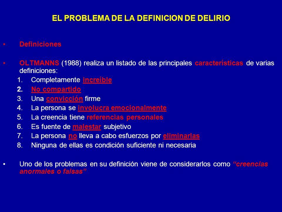 EL PROBLEMA DE LA DEFINICION DE DELIRIO