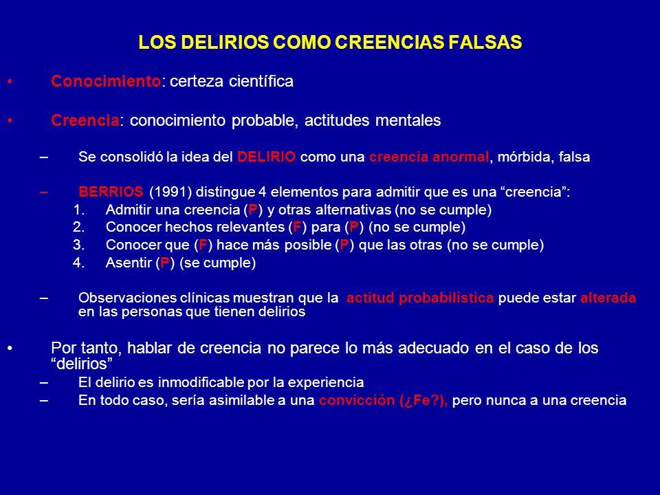 LOS DELIRIOS COMO CREENCIAS FALSAS