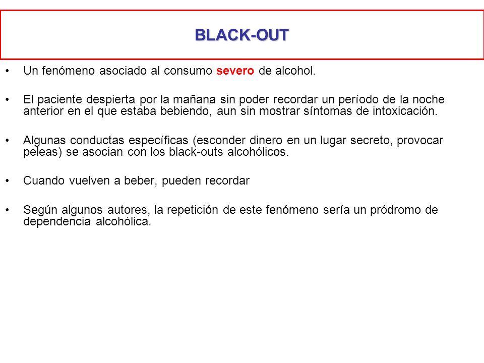 BLACK-OUT Un fenómeno asociado al consumo severo de alcohol.