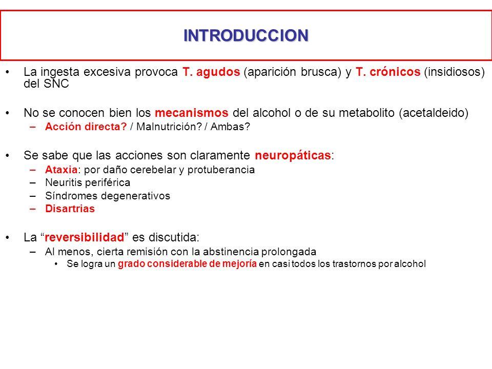 INTRODUCCION La ingesta excesiva provoca T. agudos (aparición brusca) y T. crónicos (insidiosos) del SNC.