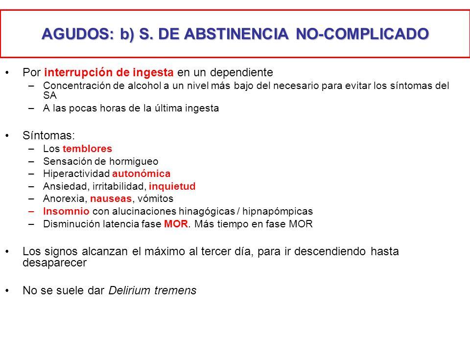 AGUDOS: b) S. DE ABSTINENCIA NO-COMPLICADO