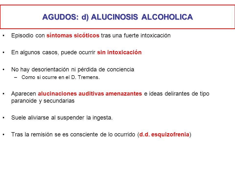 AGUDOS: d) ALUCINOSIS ALCOHOLICA
