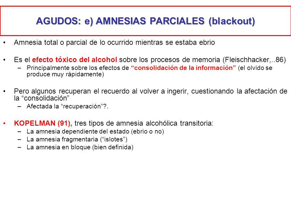 AGUDOS: e) AMNESIAS PARCIALES (blackout)