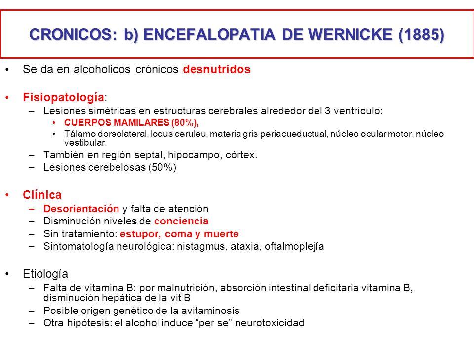 CRONICOS: b) ENCEFALOPATIA DE WERNICKE (1885)