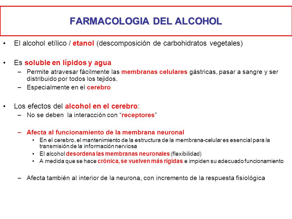 FARMACOLOGIA DEL ALCOHOL