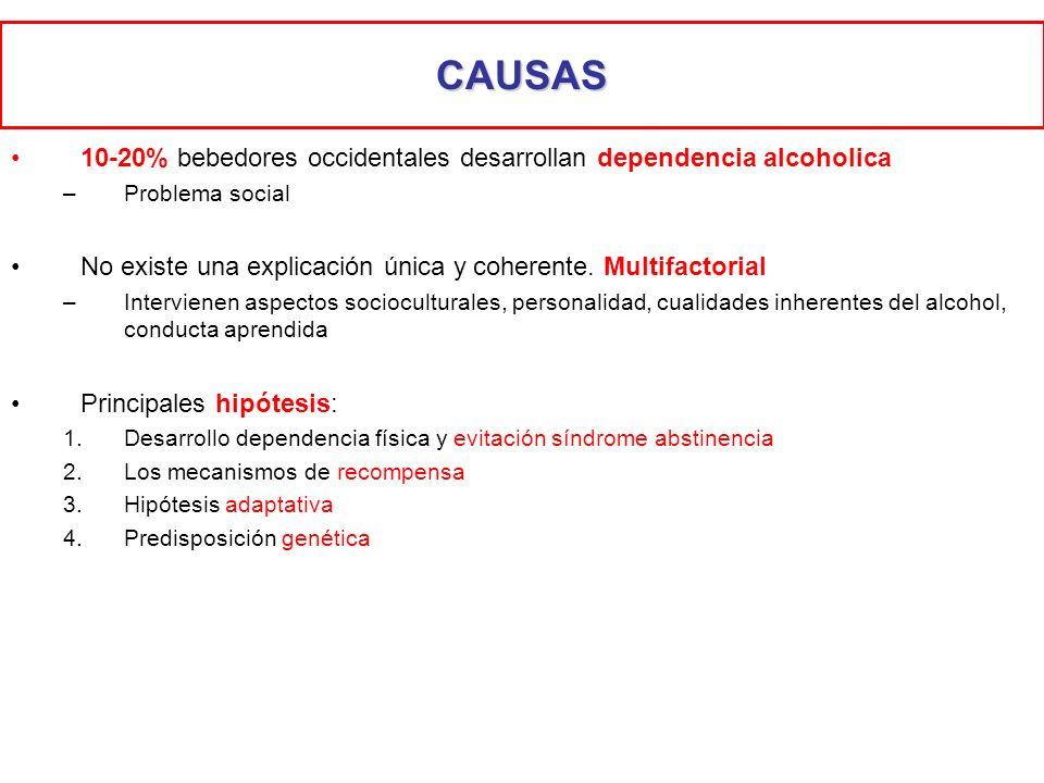 CAUSAS10-20% bebedores occidentales desarrollan dependencia alcoholica. Problema social. No existe una explicación única y coherente. Multifactorial.