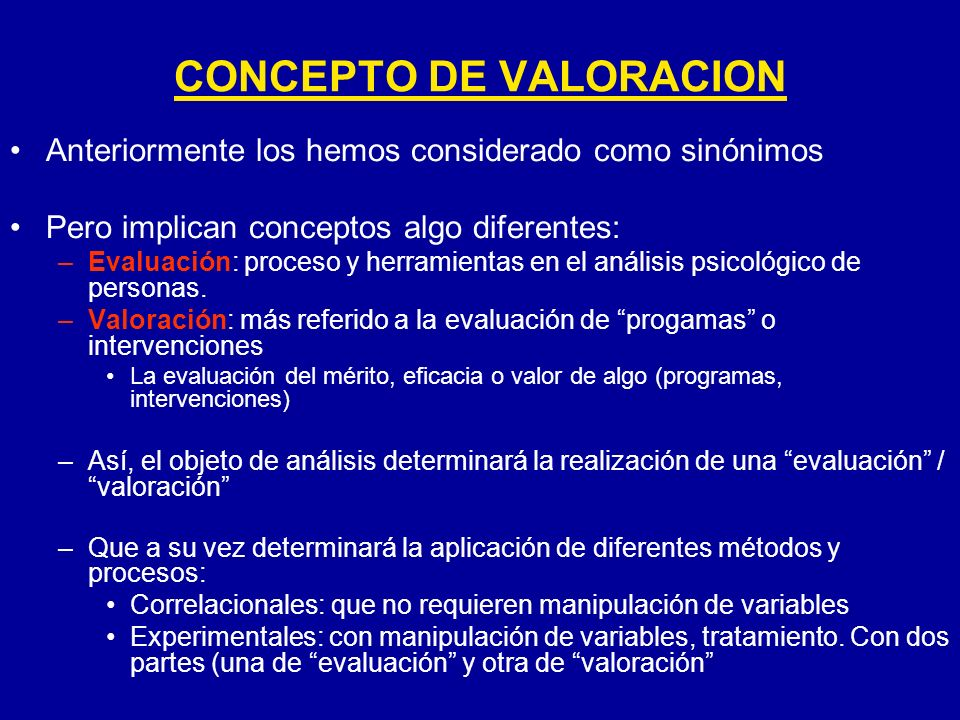 CONCEPTO DE VALORACION