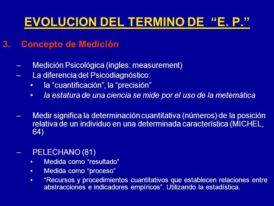 EVOLUCION DEL TERMINO DE E. P.