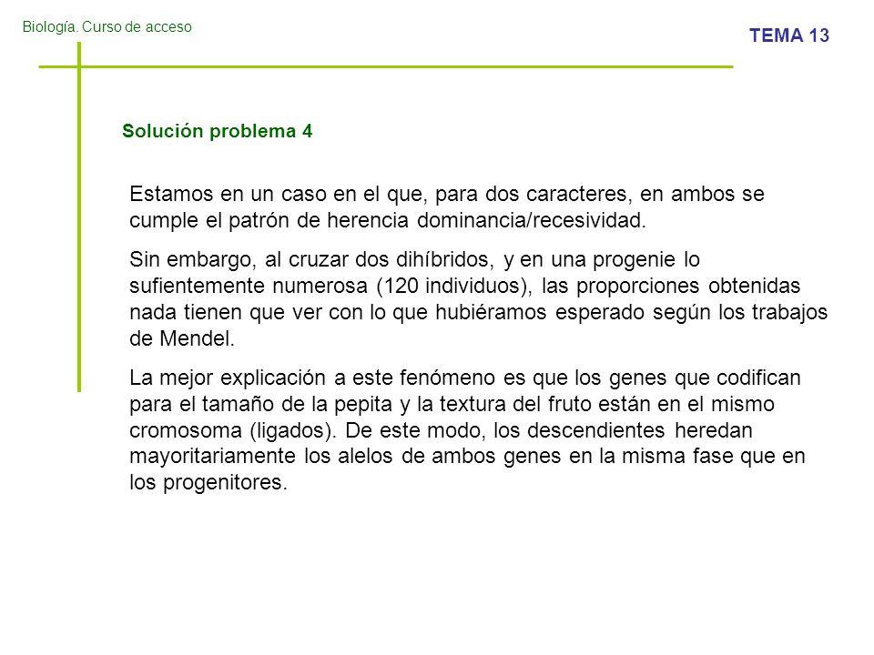Solución problema 4 Estamos en un caso en el que, para dos caracteres, en ambos se cumple el patrón de herencia dominancia/recesividad.