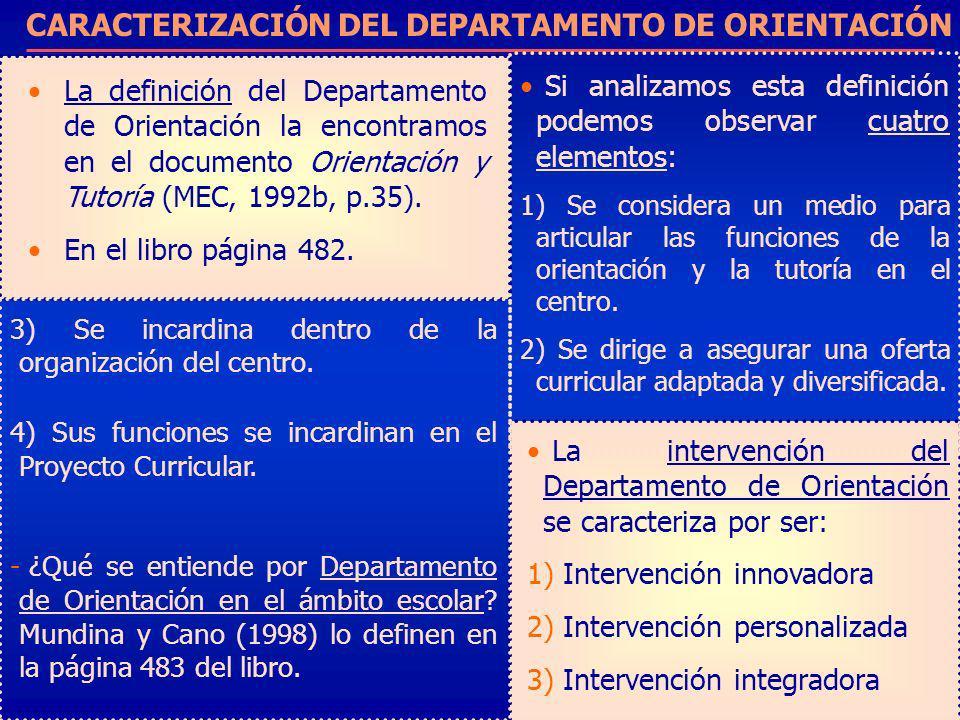 CARACTERIZACIÓN DEL DEPARTAMENTO DE ORIENTACIÓN
