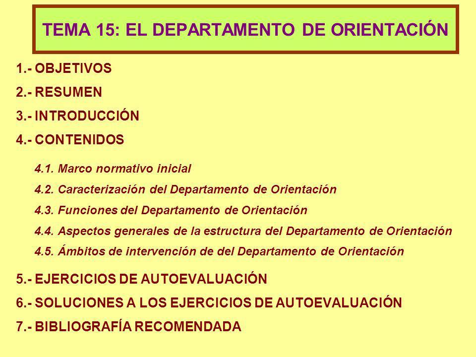 TEMA 15: EL DEPARTAMENTO DE ORIENTACIÓN