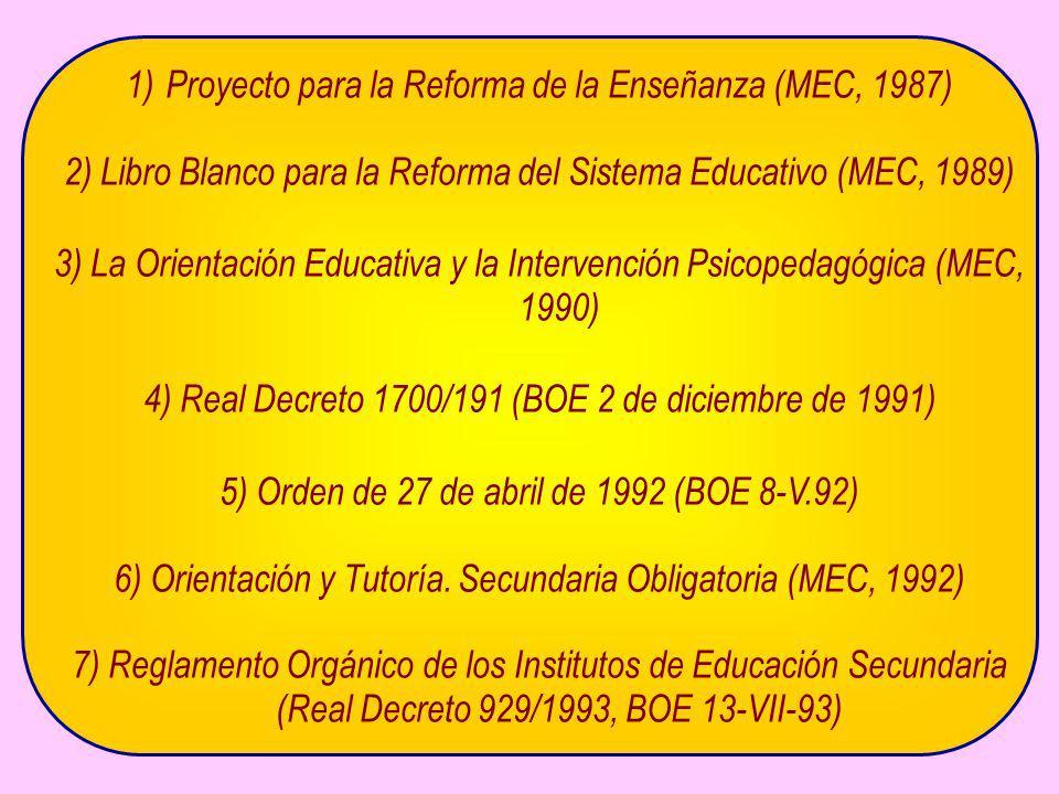 Proyecto para la Reforma de la Enseñanza (MEC, 1987)