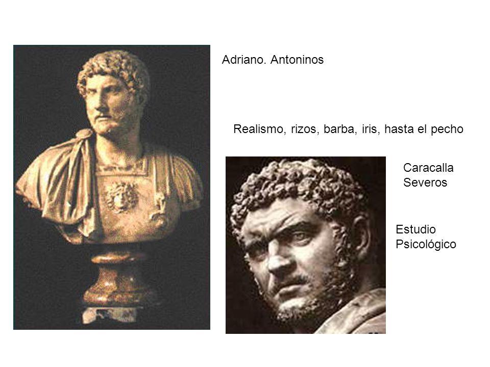 Adriano. Antoninos Realismo, rizos, barba, iris, hasta el pecho.