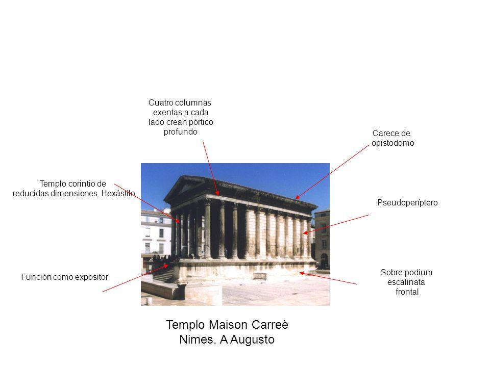 Templo Maison Carreè Nimes. A Augusto Cuatro columnas exentas a cada