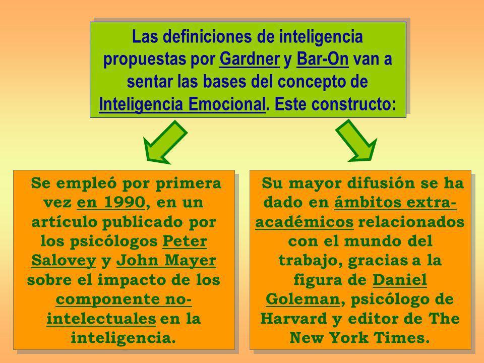 Las definiciones de inteligencia propuestas por Gardner y Bar-On van a sentar las bases del concepto de Inteligencia Emocional. Este constructo: