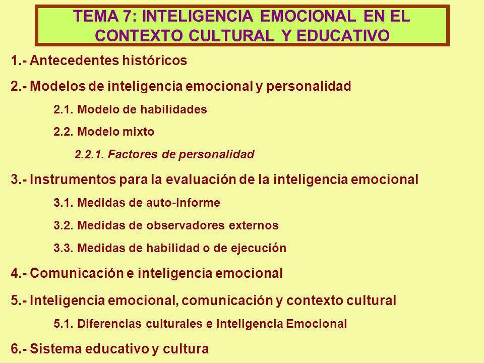 TEMA 7: INTELIGENCIA EMOCIONAL EN EL CONTEXTO CULTURAL Y EDUCATIVO