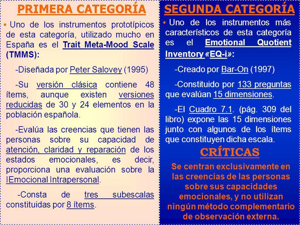 PRIMERA CATEGORÍA SEGUNDA CATEGORÍA CRÍTICAS