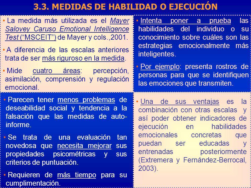 3.3. MEDIDAS DE HABILIDAD O EJECUCIÓN