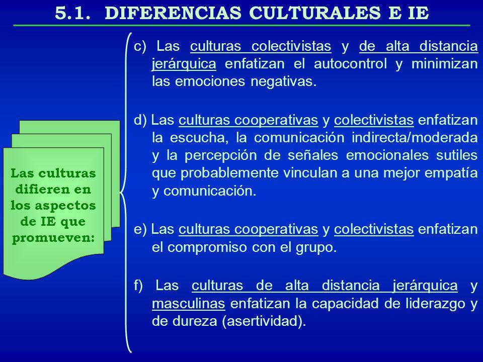 5.1. DIFERENCIAS CULTURALES E IE