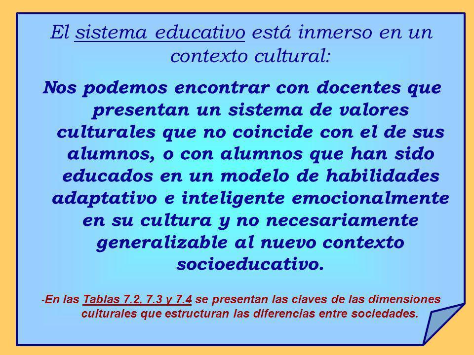 El sistema educativo está inmerso en un contexto cultural:
