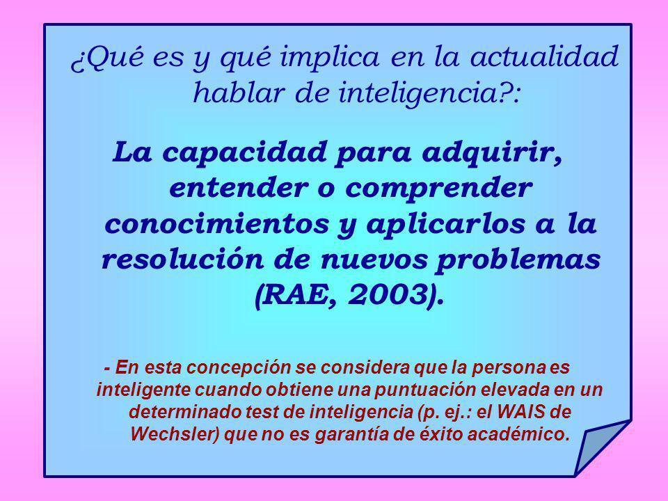 ¿Qué es y qué implica en la actualidad hablar de inteligencia :