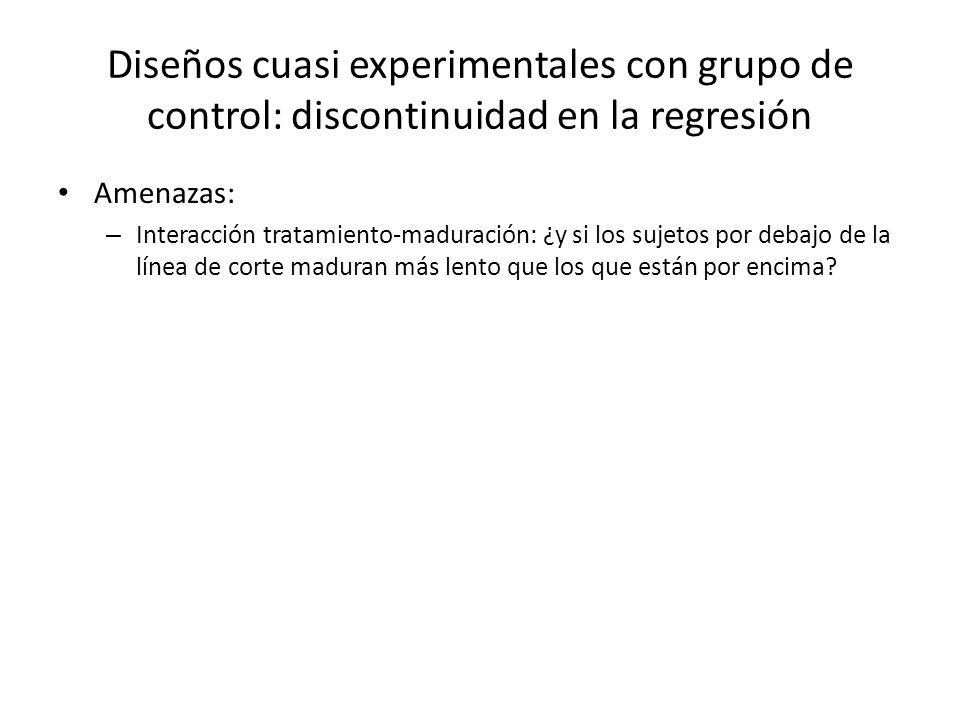 Diseños cuasi experimentales con grupo de control: discontinuidad en la regresión