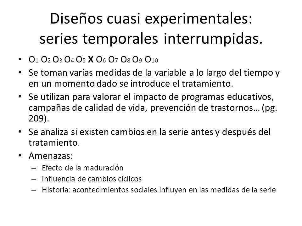Diseños cuasi experimentales: series temporales interrumpidas.