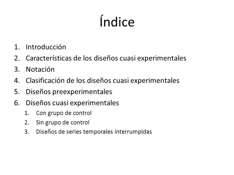 Índice Introducción. Características de los diseños cuasi experimentales. Notación. Clasificación de los diseños cuasi experimentales.