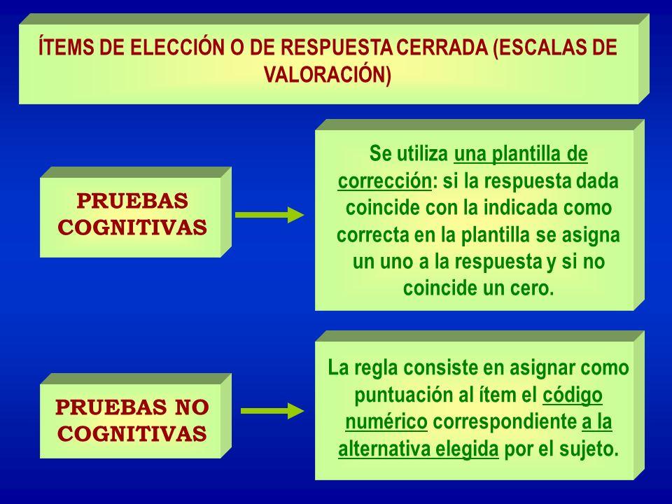 ÍTEMS DE ELECCIÓN O DE RESPUESTA CERRADA (ESCALAS DE VALORACIÓN)