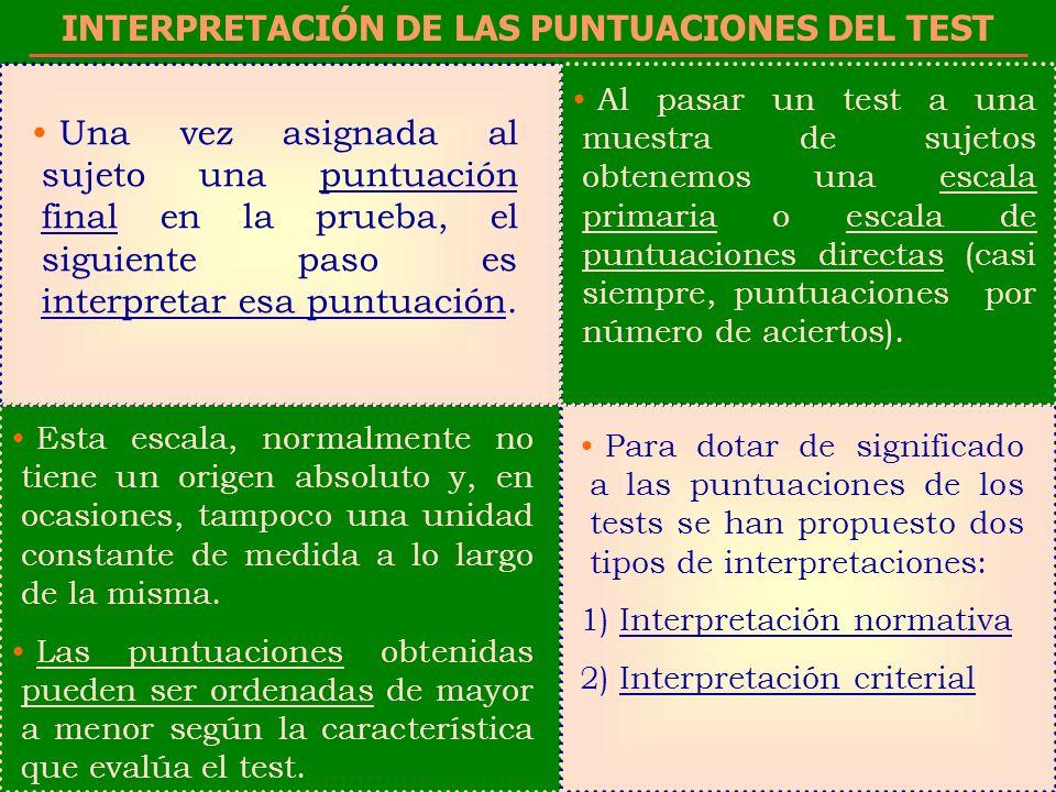 INTERPRETACIÓN DE LAS PUNTUACIONES DEL TEST
