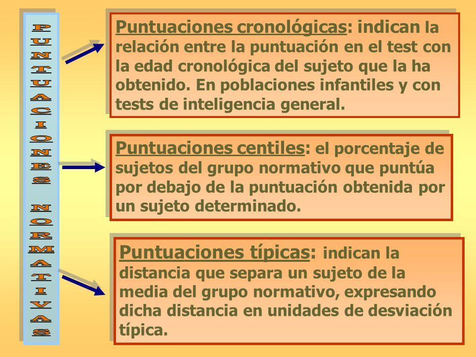 Puntuaciones cronológicas: indican la relación entre la puntuación en el test con la edad cronológica del sujeto que la ha obtenido. En poblaciones infantiles y con tests de inteligencia general.