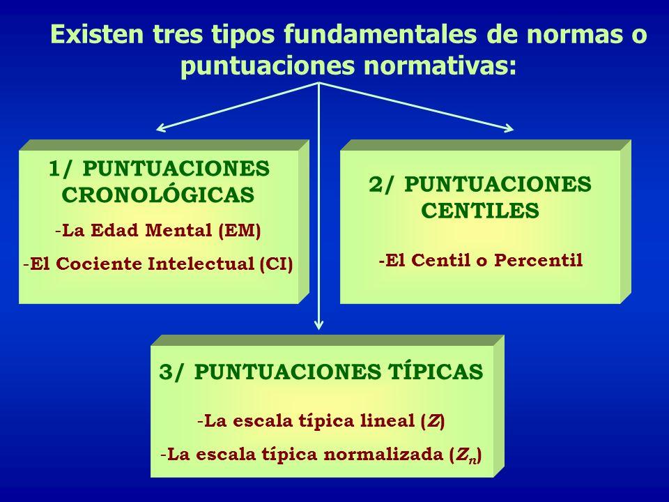 Existen tres tipos fundamentales de normas o puntuaciones normativas:
